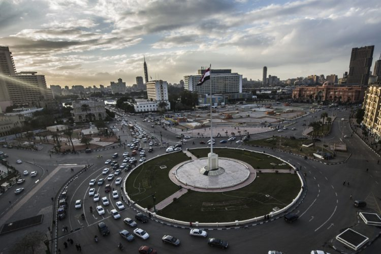 Cairo's Tahrir Square (seen here in January) isn't actually a square — it's a traffic circle. And today, years after it was the site of anti-government demonstrations, it's a beautifully manicured, sterile space.