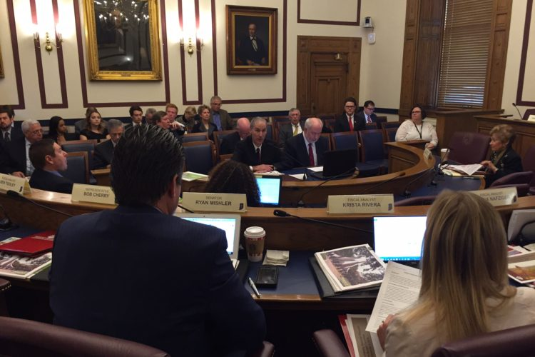 Indiana University officials present requests to the Budget Committee.  (Photo: Brandon Smith)