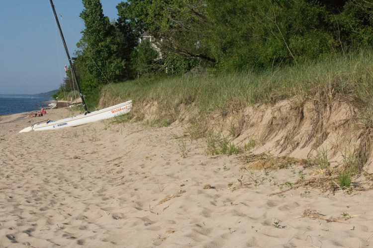The Ordinary High Water Mark is just that: the highest point water ordinarily reaches. It's seen here, where the beach ends and a sand dune begins.