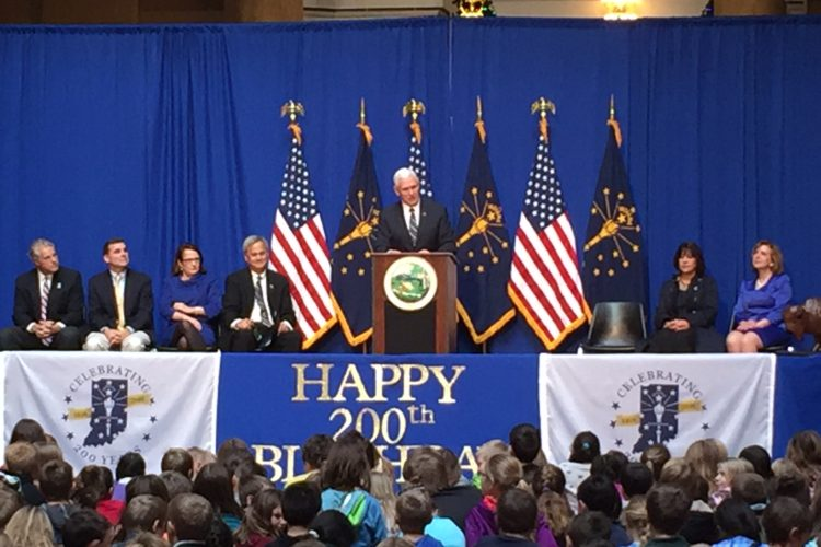 Governor (and Vice President-elect) Mike Pence speaks to students from around Indiana during the Bicentennial Statehood Day celebration at the Statehouse. (Brandon Smith/IPB News)