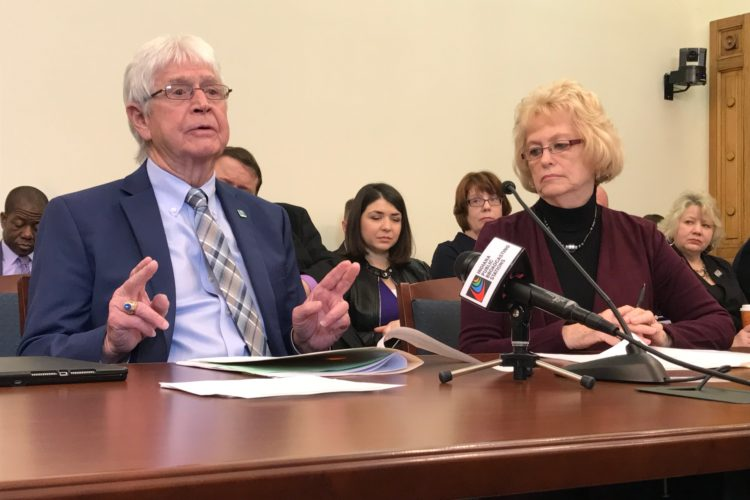 Rep. Clyde Kersey (D-Terre Haute) testifies in Senate Elections Committee as Sen. Vaneta Becker (R-Evansville) sits beside him. (Brandon Smith/IPB News)