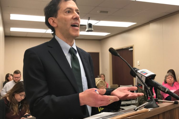 Indiana University law professor David Orentlicher testifies in the House Public Policy Committee (Brandon Smith/IPB News)