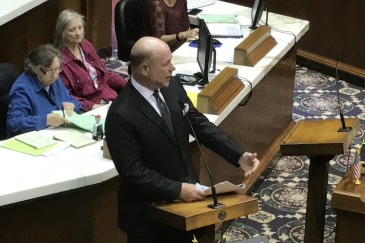 House Speaker Brian Bosma (R-Indianapolis) presents his bill to make the Superintendent of Public Instruction an appointed position. (Brandon Smith/IPB News)