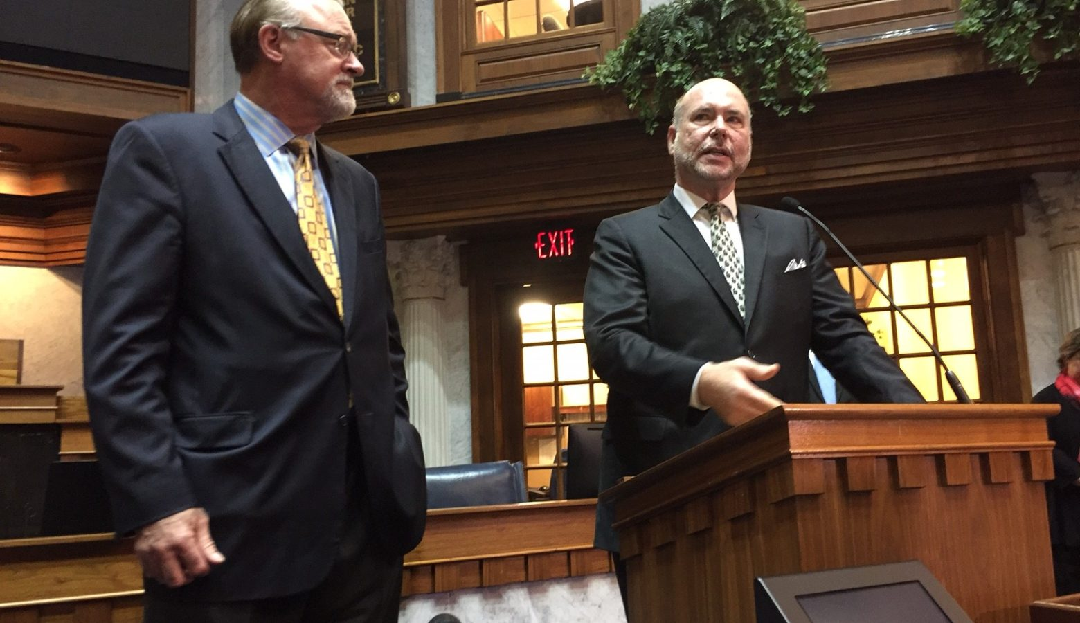 Senate President Pro Tem David Long (R-Fort Wayne), left, and House Speaker Brian Bosma (R-Indianapolis) will take the details of a road funding plan to their caucuses for approval. (Brandon Smith/IPB News)