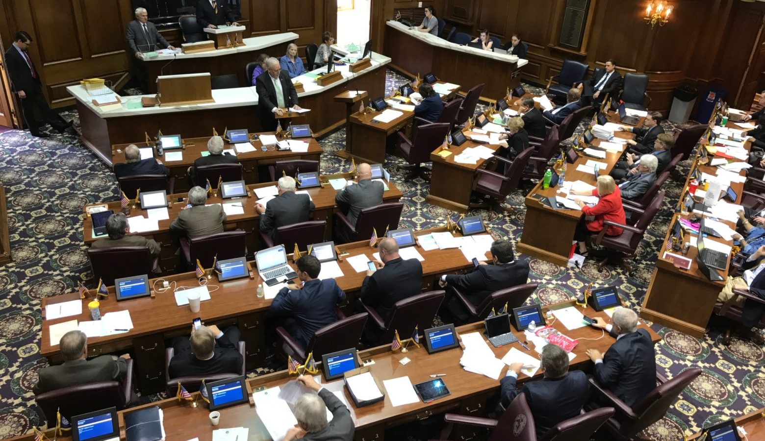 Rep. Matt Lehman (R-Berne) presents the short-term rentals bill to the House Chamber. (Brandon Smith/IPB News)