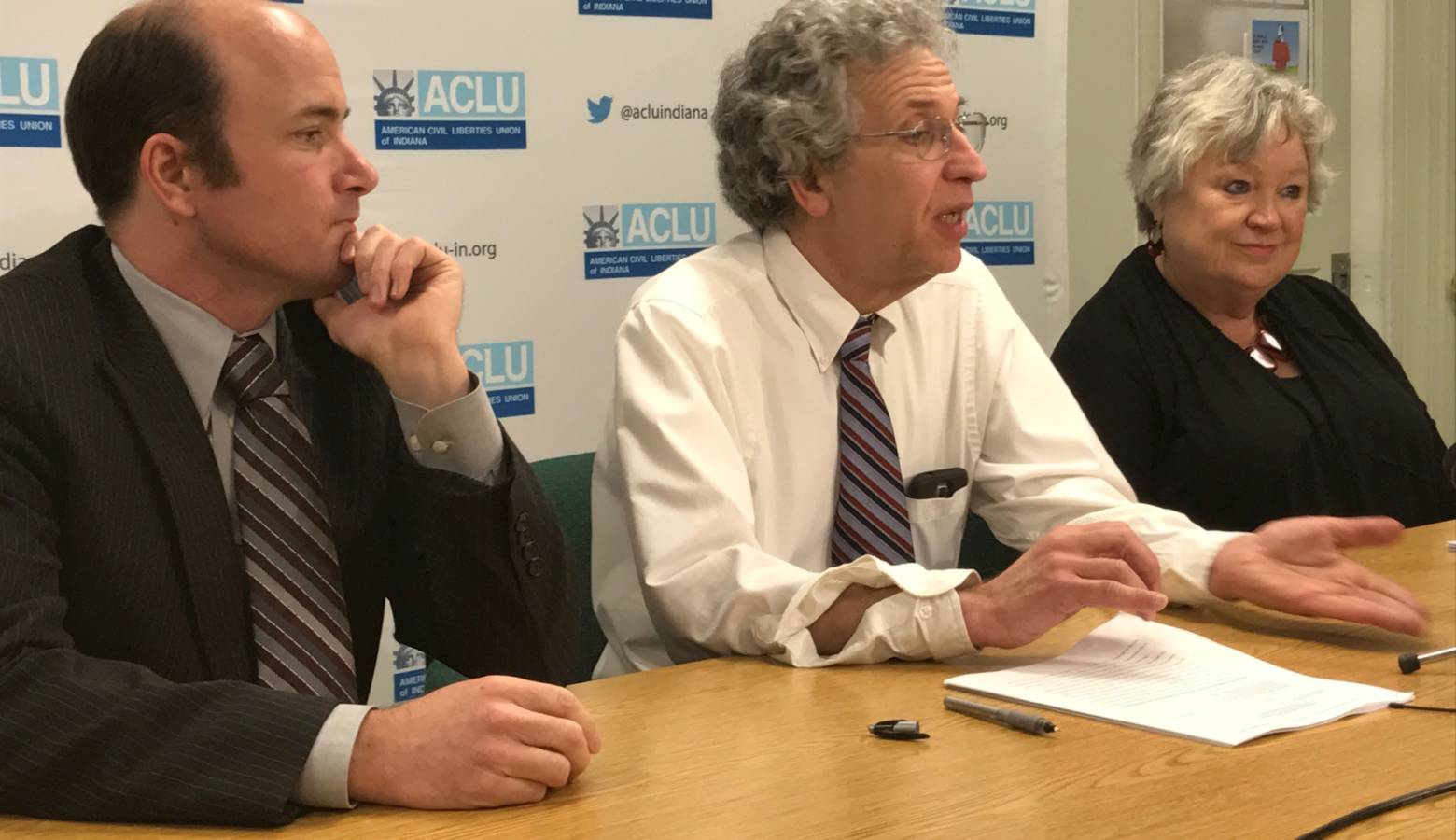 (From left) ACLU of Indiana attorney Gavin Rose, ACLU of Indiana legal director Ken Falk, and Planned Parenthood of Indiana and Kentucky CEO Betty Cockrum. (Brandon Smith/IPB News)