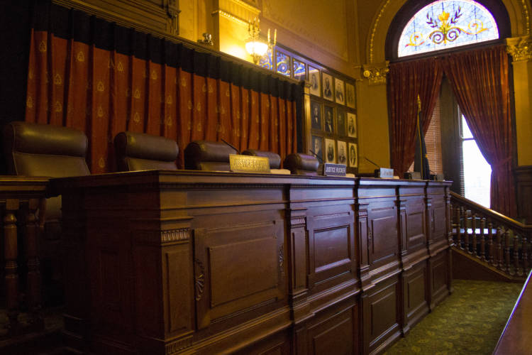 The Indiana Supreme Court Chamber in the Statehouse. (Brandon Smith/IPB News)