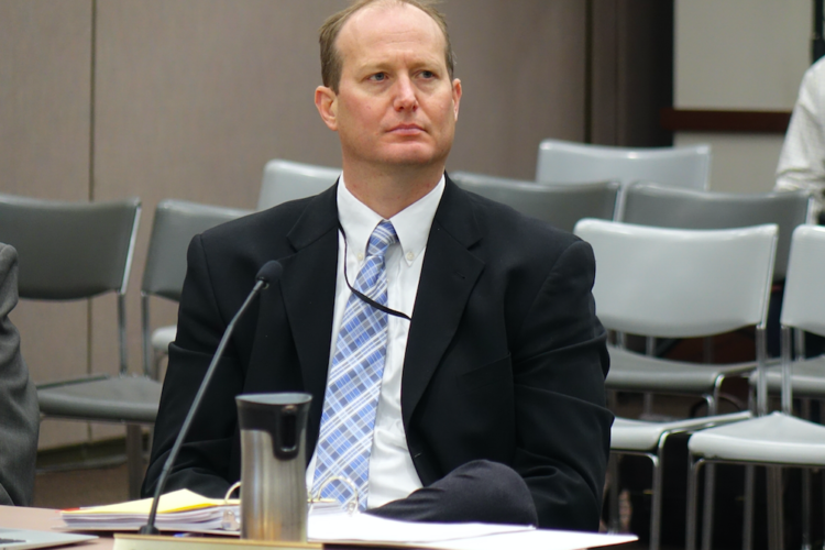 Indiana State Board of Education member Gordon Hendry voted against giving four private schools waivers to accept new vouchers from the Choice Scholarship Program during the June 7, 2017, board meeting in Indianapolis. (Eric Weddle/WFY News)