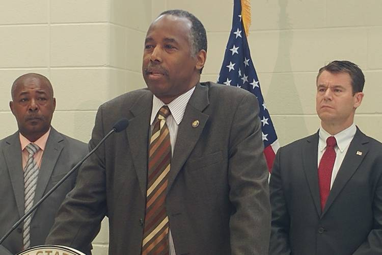 HUD Secretary Ben Carson speaks at a press conference following a meeting with residents in East Chicago. (Annie Ropeik/IPB News)