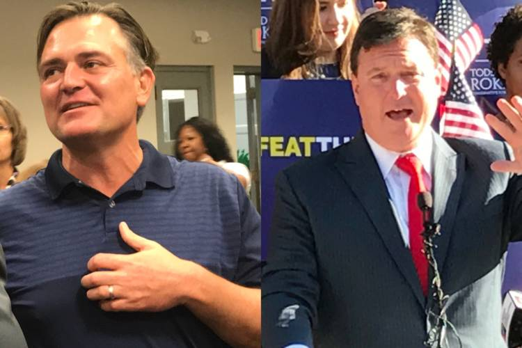 The tone of the race to challenge incumbent U.S. Sen. Joe Donnelly (D-Ind.) has been marked by vitriol between U.S. Rep. Luke Messer (R-Shelbyville), left, and U.S. Rep. Todd Rokita (R-Brownsburg), right. (Brandon Smith/IPB News)