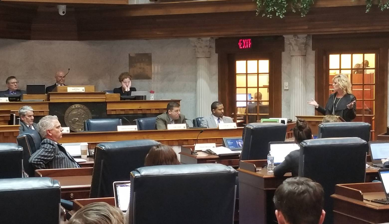 State Superintendent of Public Instruction, Jennifer McCormick, speaks to the Senate Education and Career Development Committee. (Jeanie Lindsay/IPB News)