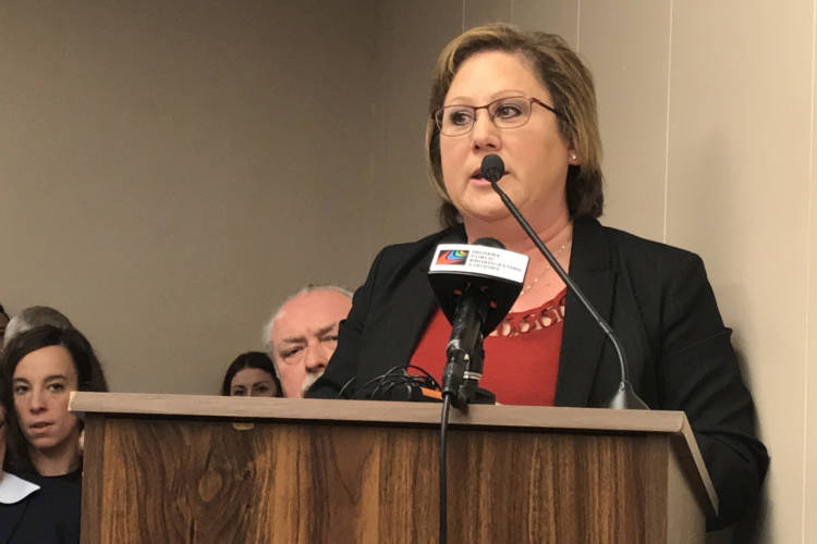 Indiana Township Association President Debbie Driscoll tells a House committee her organization supports this session's township reform bill. (Brandon Smith/IPB News)