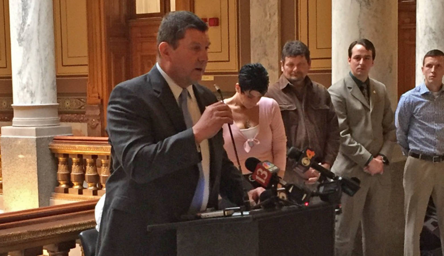 Rep. Jim Lucas (R-Seymour) speaks at the Indiana Statehouse during a press conference on his medical marijuana legislation. (Jill Sheridan/IPB News)