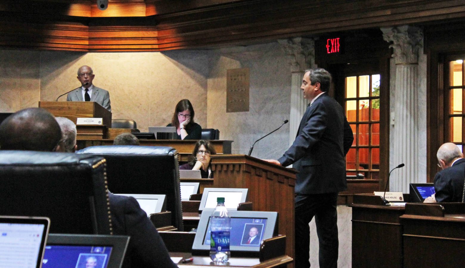 Sen. Mike Bohacek (R-Michiana Shores) answers questions from the Senate Family and Children Services Committee about his bill, SB 11. (Lauren Chapman/IPB News)