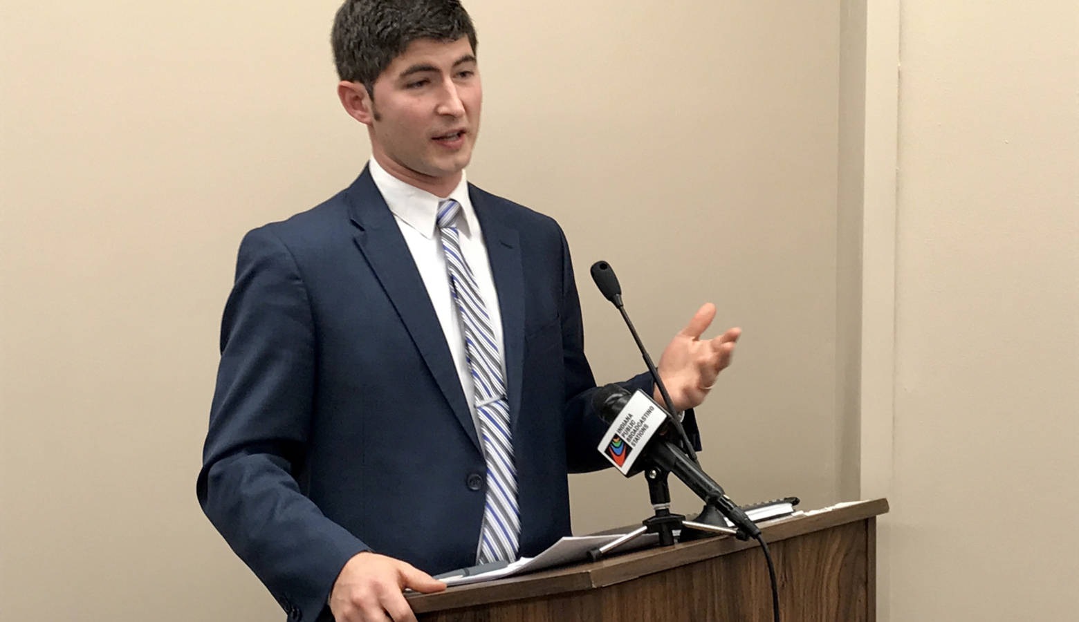 Rep. Tim Wesco (R-Osceola) discusses his bill dealing with education benefits for active duty military and veterans. (Brandon Smith/IPB News)