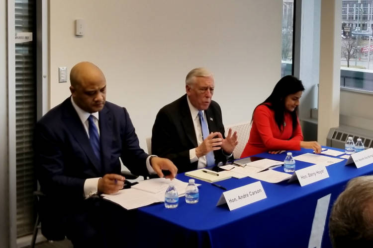 """Reps. Andre Carson (D-Ind.), Steny Hoyer (D-Md.) and Rep. Nanette Barragán (D-Calif.) stop in Indianapolis on their """"Make It In America Tour."""" (Samantha Horton/IPB News)"""
