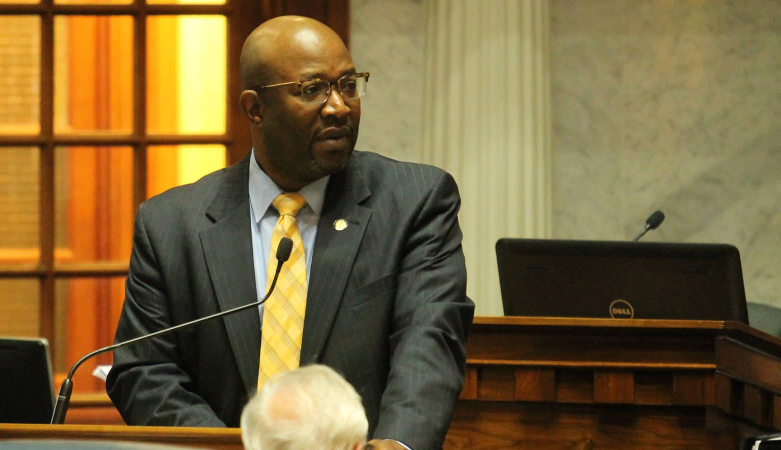 Sen. Greg Taylor (D-Indianapolis) argues SB 33 would not necessarily keep churches safe. (Lauren Chapman/IPB News)
