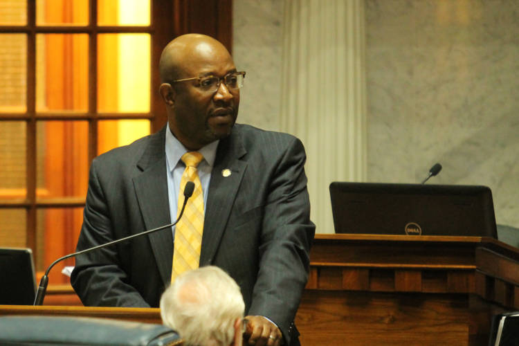 Sen. Greg Taylor (D-Indianapolis) argues SB 33 would not necessarily keep churches safe. (Lauren Chapman/IPB News)
