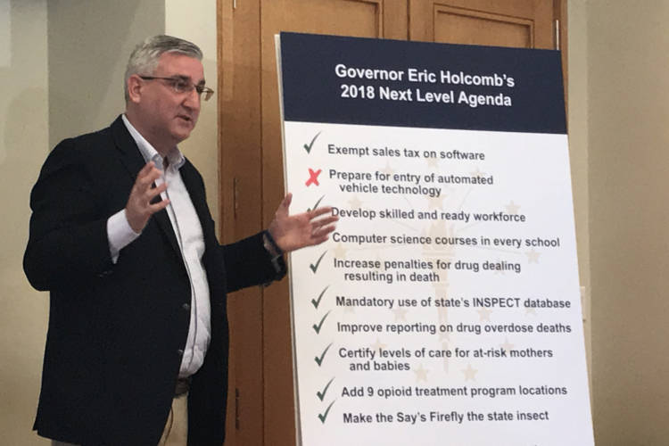 Gov. Eric Holcomb identified self-driving vehicle legislation as a priority this year. But it was one of the bills that died when lawmakers ran out of time. (Brandon Smith/IPB News)