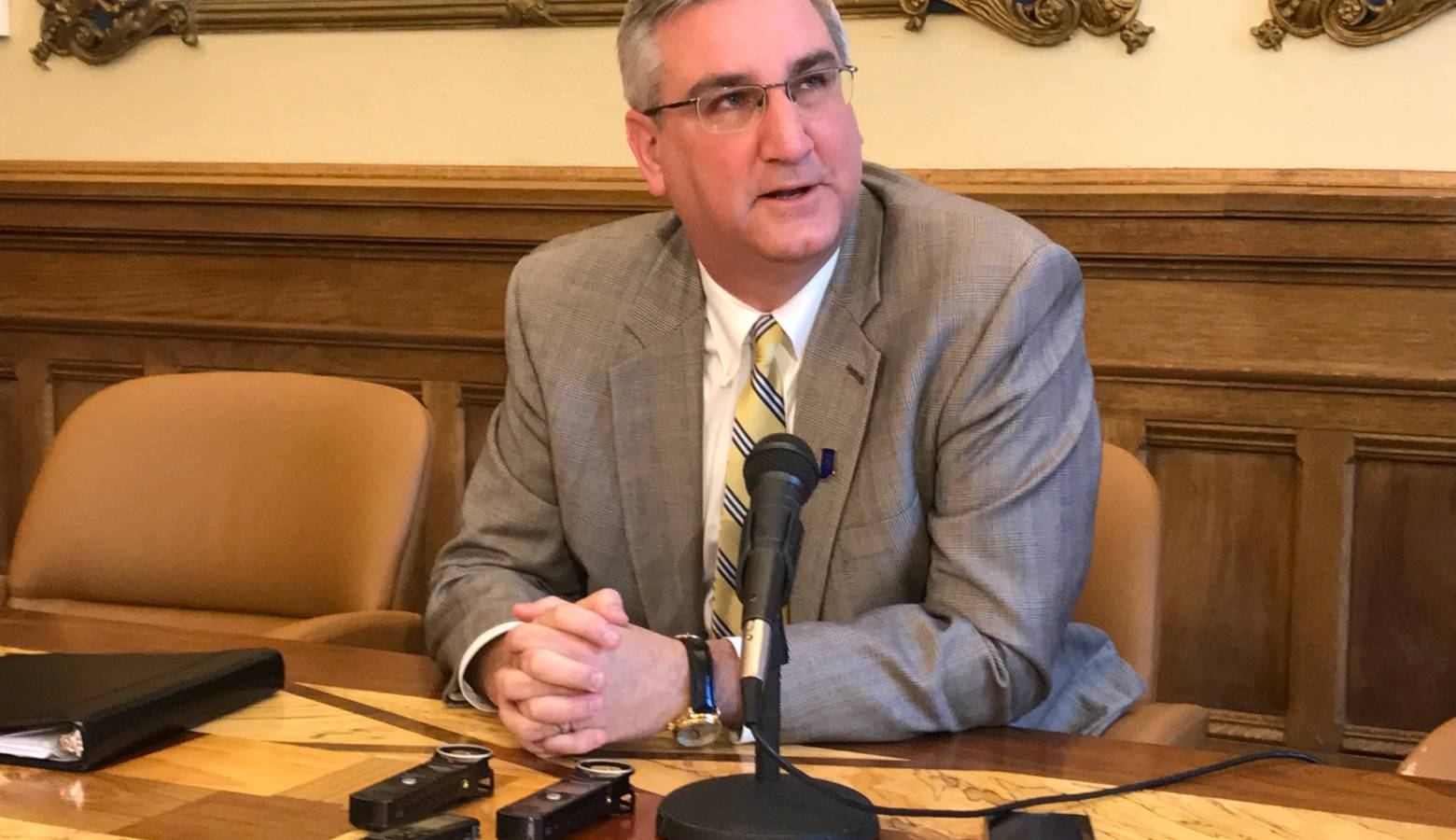 Gov. Eric Holcomb says the abortion reporting requirements bill does not restrict access to abortion. (Brandon Smith/IPB News)