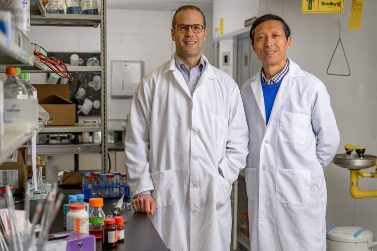 """Purdue University researchers Jean-Christophe """"Chris"""" Rochet and Dr. Riyi Shi say their discovery of a key factor in the development of Parkinson's disease could lead to new therapies. (Photo courtesy of Alex Kumar/Purdue University)"""