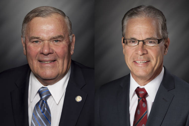 4th Congressional district Republican nominee Rep. Jim Baird (R-Greencastle), left, and Republican Senate candidate Mike Braun - a former state lawmaker - weathered significant attacks for their votes to raise the state's gas tax 10 cents. (Courtesy India