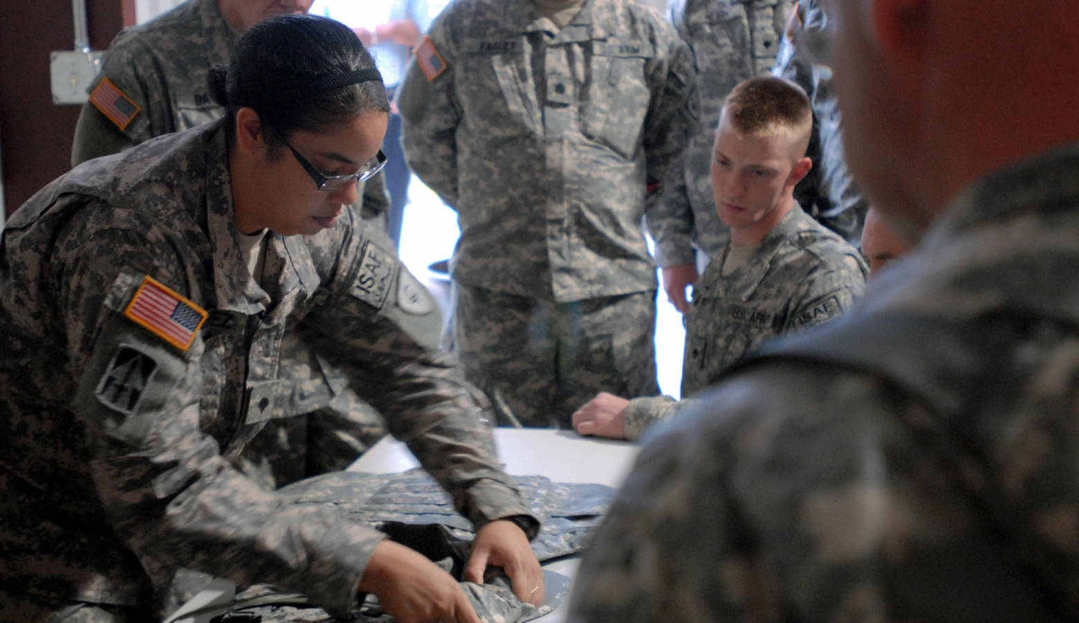 Indiana National Guard soldiers are issued equipment at Camp Atterbury. (Indiana National Guard)