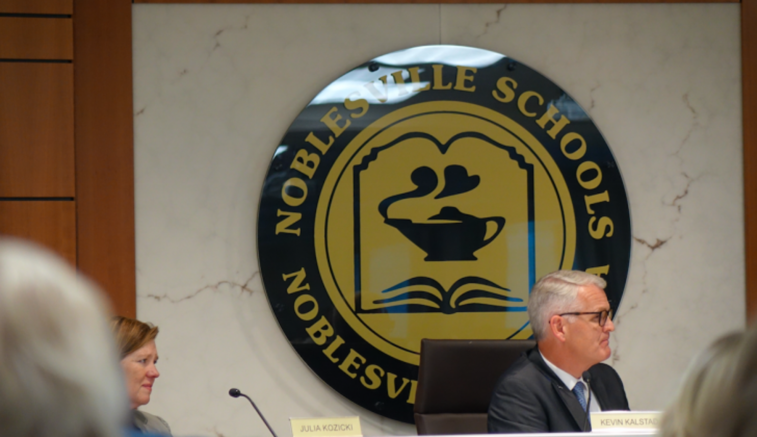 Noblesville School Board members listen as parents talk about safety concerns during a meeting on Tuesday, June 12, 2018 at the district office.