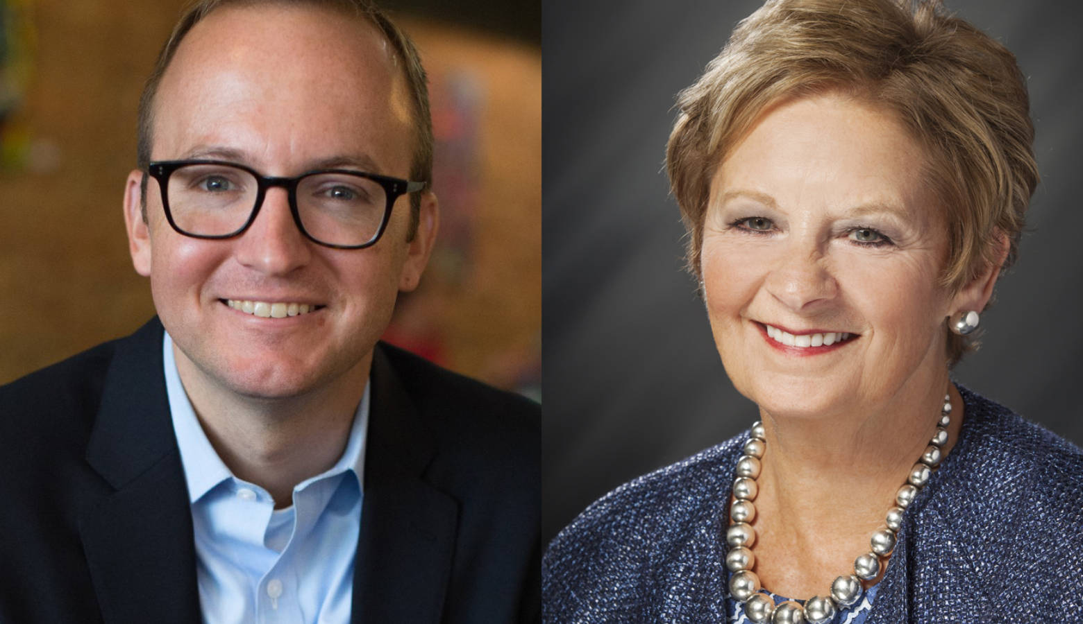 Democratic Secretary of State candidate Jim Harper, left, is running against incumbent Republican Secretary of State Connie Lawson, right. (Harper For Indiana/Indiana Secretary of State)