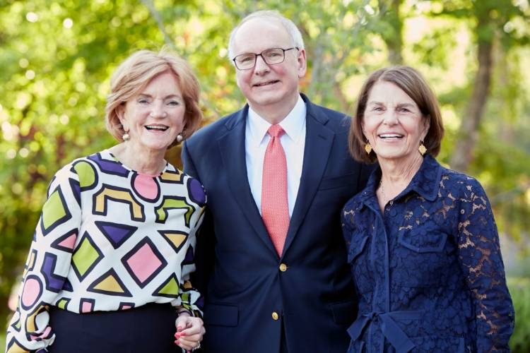 IU School of Medicine Dean Jay Hess (center) with Vera Bradley co-founders Barbara Bradley Baekgaard (left) and Patricia R. Miller (right). The Foundation has contributed more than $35 million for breast cancer research. (Courtesy of Indiana University Sc