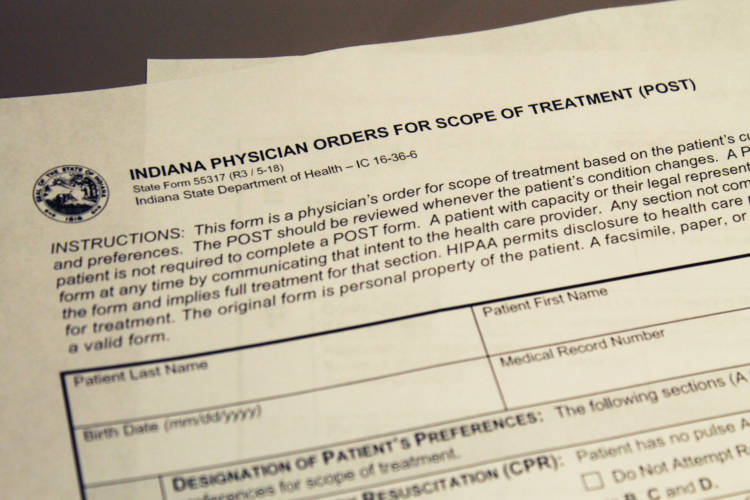 Indiana POST form details the patient's wishes if they have an advanced or progressive illness. (Lauren Chapman/IPB News)