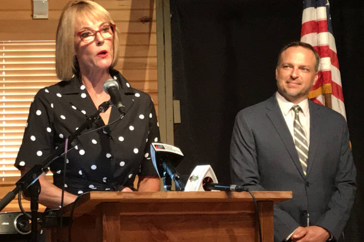 Lt. Gov. Suzanne Crouch announced the creation of a cabinet-level position to help expand affordable broadband solutions for rural communities. Scott Rudd, right, will serve as Director of Broadband Opportunities. (Brandon Smith/IPB News)