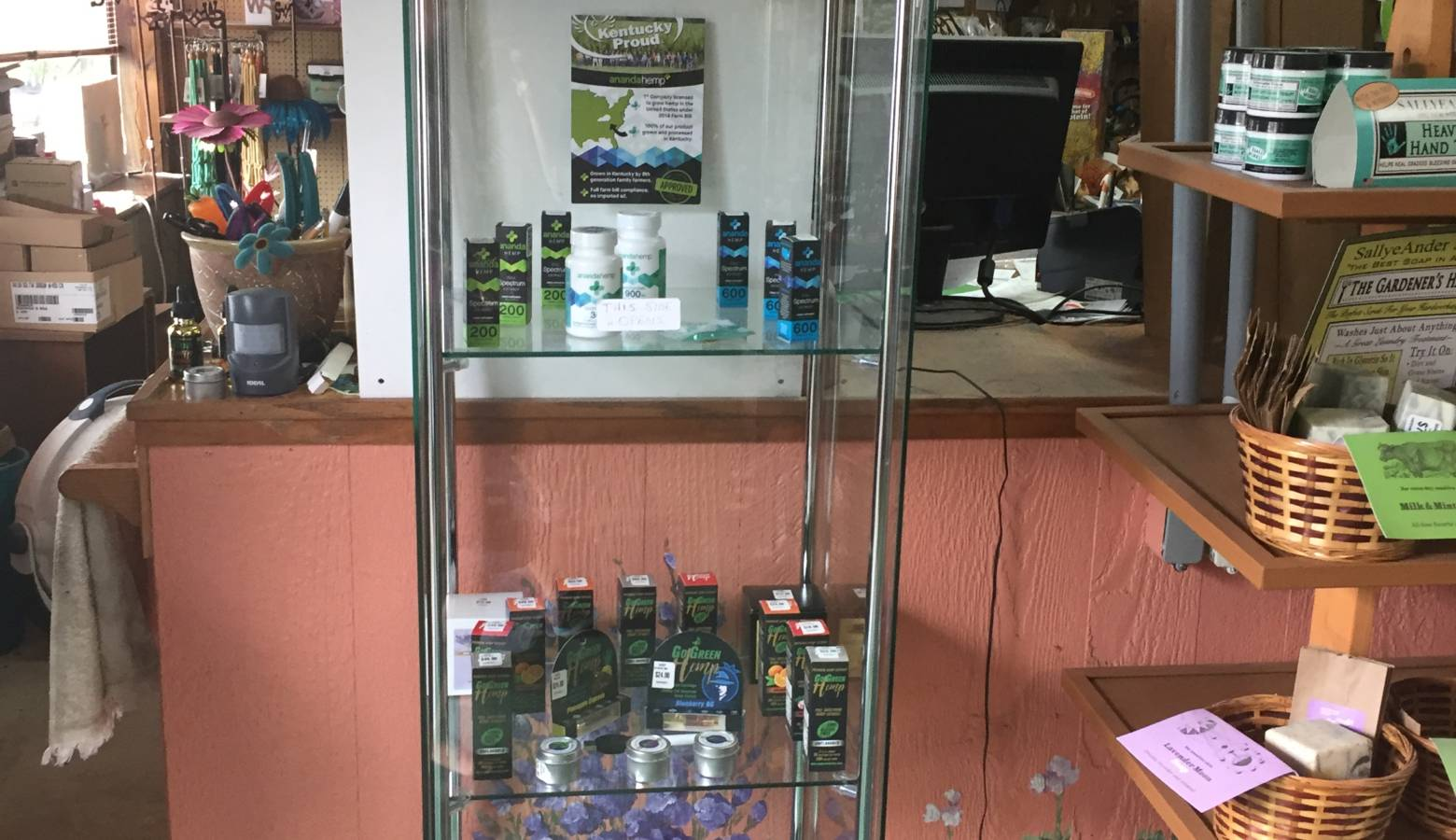CBD products are sold at Davidson Greenhouse in Crawfordsville. (Jill Sheridan/IPB News)