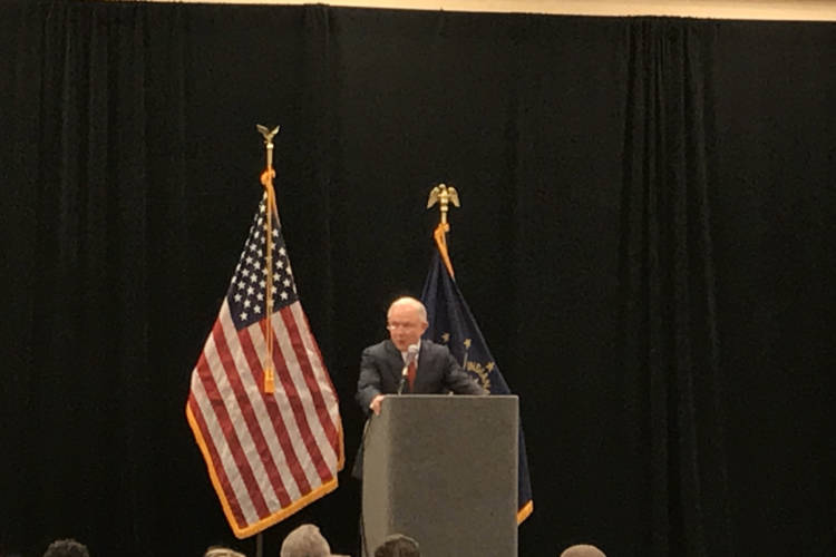 U.S. Attorney General Jeff Sessions speaks at a law enforcement conference in Indianapolis. (Brandon Smith/IPB News)