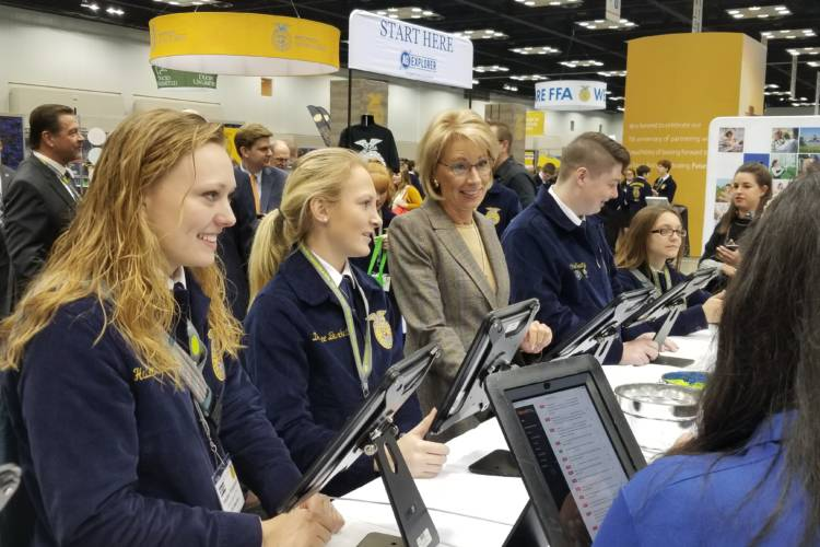 US Secretary of Education Betsy DeVos met with FFA students at this week's national convention, to support career exploration in agriculture. (Jeanie Lindsay/IPB News)