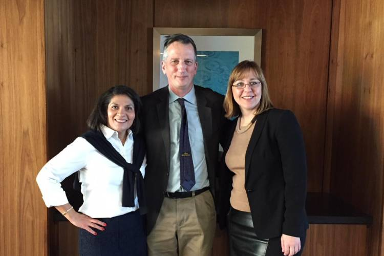 Dr. Maria Carrillo, Dr. Bruce Lamb and Dr. Liana Apostolova investigators with the LEADS trial. (Jill Sheridan/IPB News)