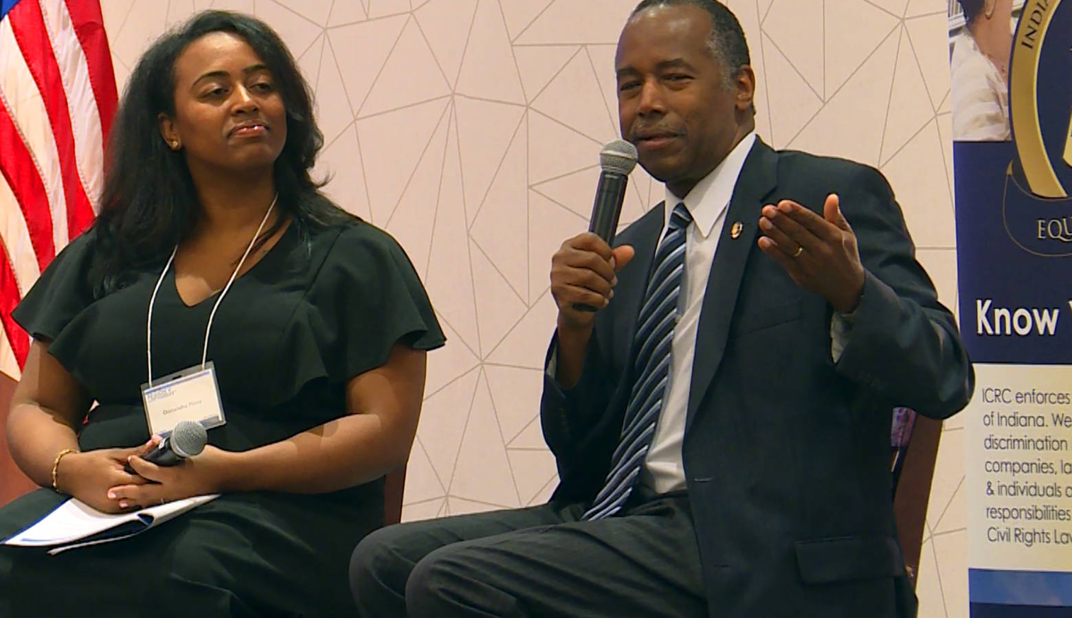 U.S. Secretary of Housing and Urban Development Ben Carson speaks during an audience-submitted Q-and-A session at the Region 5 Fair Housing Law and Policy Conference. (Lauren Chapman/IPB News)
