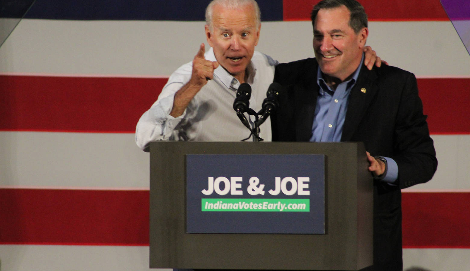 Former Vice President Joe Biden joins incumbent U.S. Sen. Joe Donnelly (D-Ind.) in Hammond Friday. (Samantha Horton/IPB News)