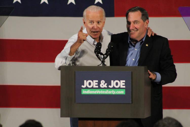 Former Vice President Joe Biden joins incumbent U.S. Sen. Joe Donnelly (D-Ind.) in Hammond Friday. (Samantha Horton/IPB News)