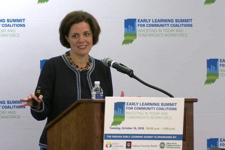 Early Learning Indiana President and CEO Maureen Weber presents the findings of a report from her organization and the Indiana University Public Policy Institute. (Jeanie Lindsay/IPB News)