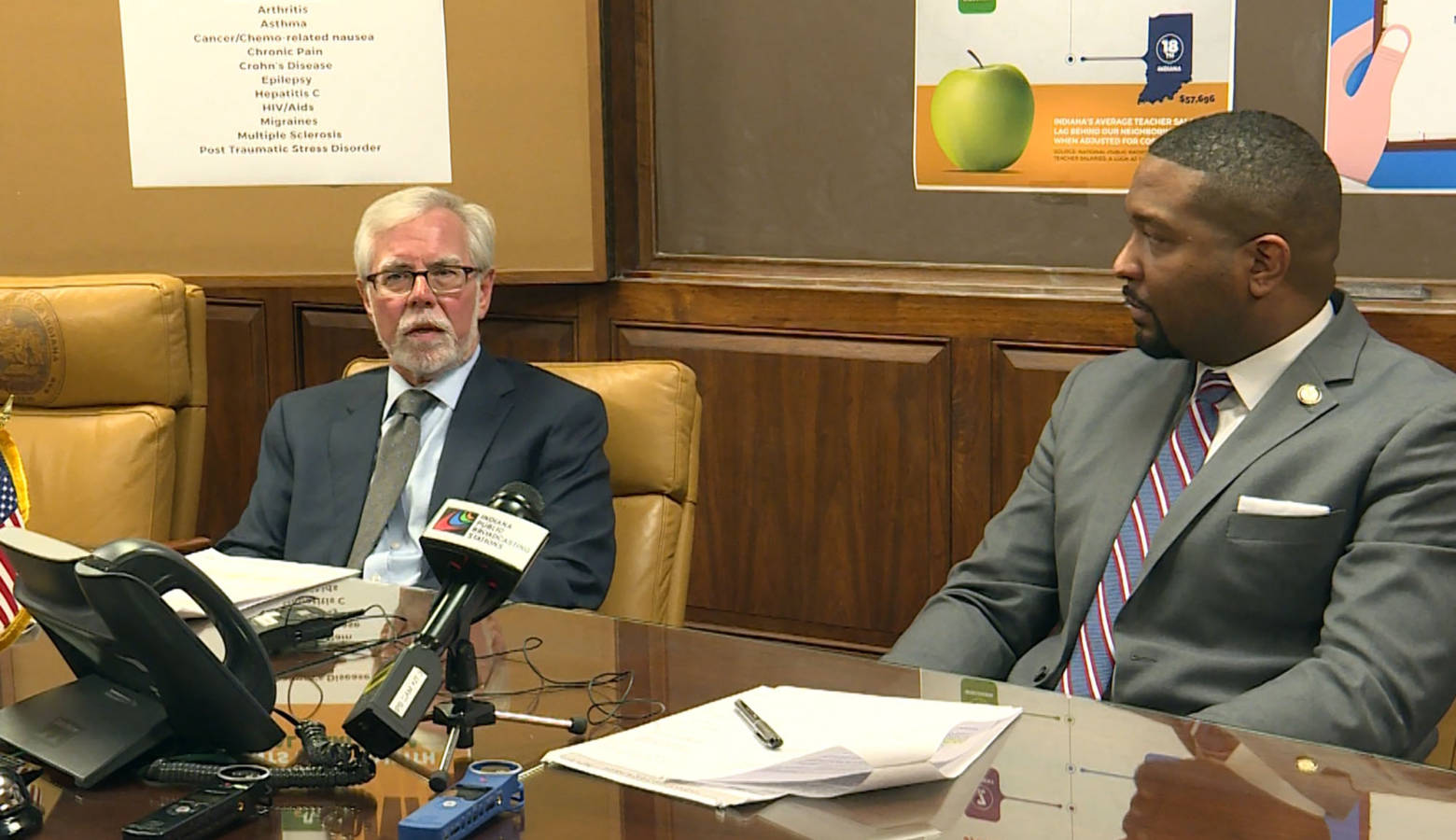 Senate Minority Leader Tim Lanane (D-Anderson) and Sen. Eddie Melton (D-Gary) outline the Senate Democrat legislative priorities, including: teacher pay, medical marijuana, pre-existing condition coverage and hate crimes. (Lauren Chapman/IPB News)