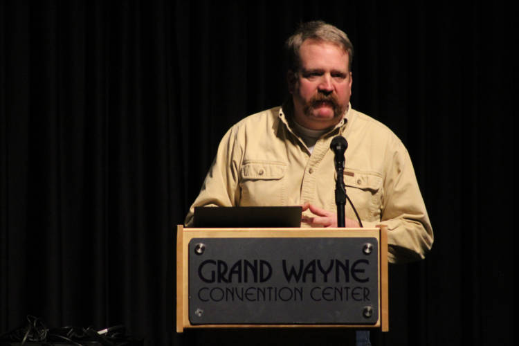 Indiana farmer Mark Boyer spoke to attendees at the Indiana Farm Bureau State Convention about his experience this past harvest season growing hemp. (Samantha Horton/IPB News)