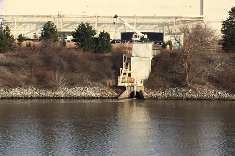 A foamy discharge was seen coming out of the U.S. Steel plant and into the Burns Waterway (Courtesy of Victoria Wittig of Save the Dunes)