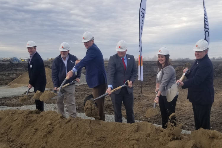 State and local officials along with DS Smith representatives break ground Friday for the UK packaging company's new facility in Lebanon. (Samantha Horton/IPB News)