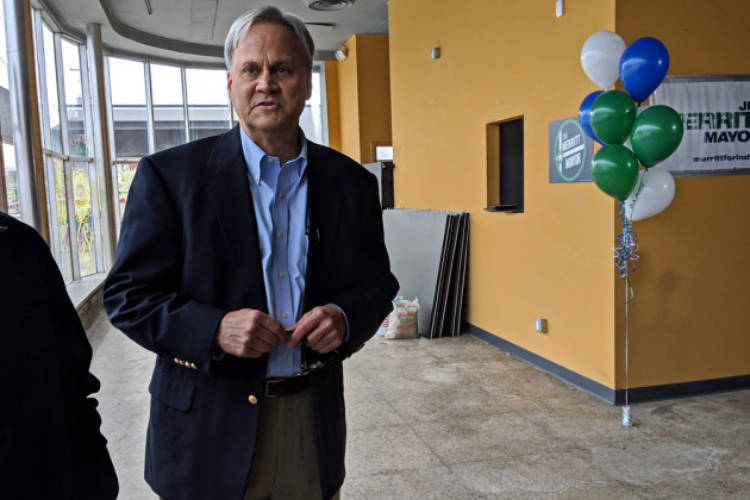 """Sen. Jim Merritt says Indianapolis' current administration, led by Democratic Mayor Joe Hogsett, has failed to come up with long-term solutions to many of the city's problems. """"They patch,"""" he says of his opponents."""