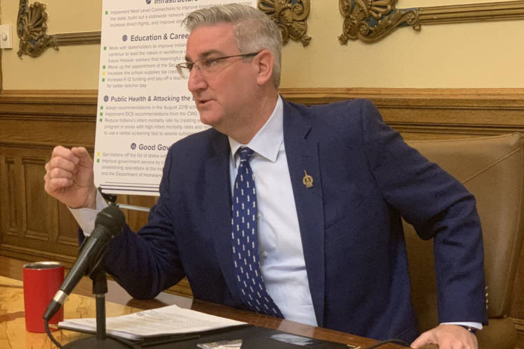 Gov. Eric Holcomb says he wants Hoosiers to contact their lawmakers to urge them to pass a hate crimes bill with a list of victim characteristics. (Brandon Smith/IPB News)