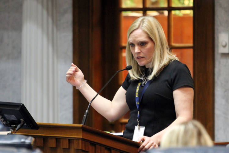 Sen. Erin Houchin (R-Salem) says her bill creates a new definition for long-term foster parent. (Lauren Chapman/IPB News)