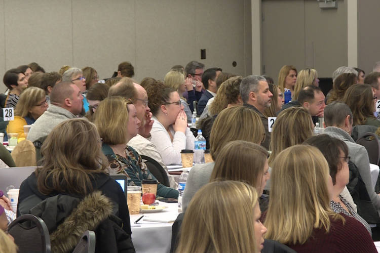 About 500 school professionals met in Bloomington to focus on how schools in Indiana address a student's needs beyond academics at school. (Jeanie Lindsay/IPB News)