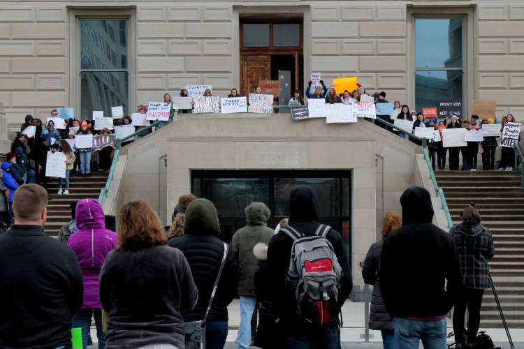 Carmel High School junior Zoe Koniaris speaks to the crowd during the second annual March For Our Lives Indiana at the Statehouse. (Lauren Chapman/IPB News)