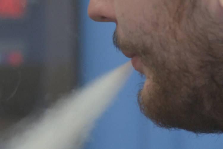 Exhaling smoke from an e-cigarette. (WFIU/WTIU)
